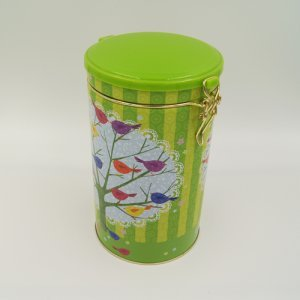 round tea and coffee tin box1 300x300 - Round Tin Food Storage Containers With Plastic Lid and Lock